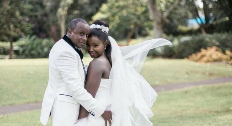 Phil and Kate on their wedding day  ( @mwanikiweddings)