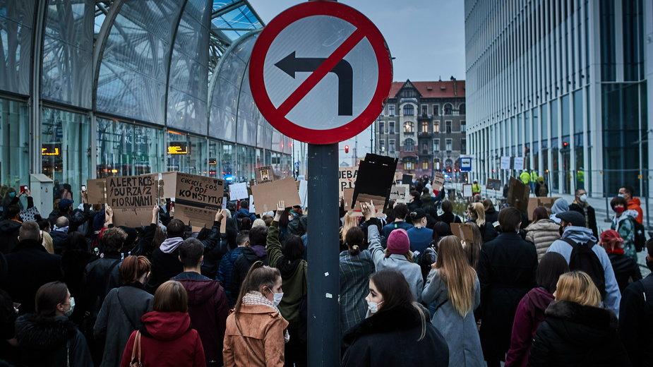 Protesty na ulicach Łodzi