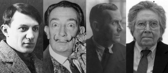 Pablo Pikaso, Salvador Dali, Huan Miro i Antoni Tapies