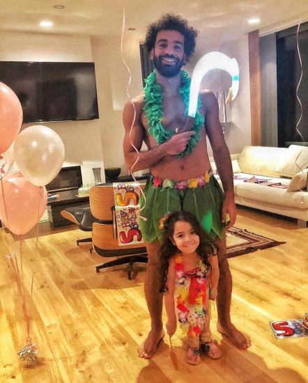 Mo Salah dressed as Maui from the 2016 film Moana for her daughter's 5th birthday. (Twitter/MoSalah)