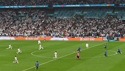 Players take a knee ahead of the UEFA EURO 2020 final football match between Italy and England at Wembley Stadium on July 11 Creator: FACUNDO ARRIZABALAGA