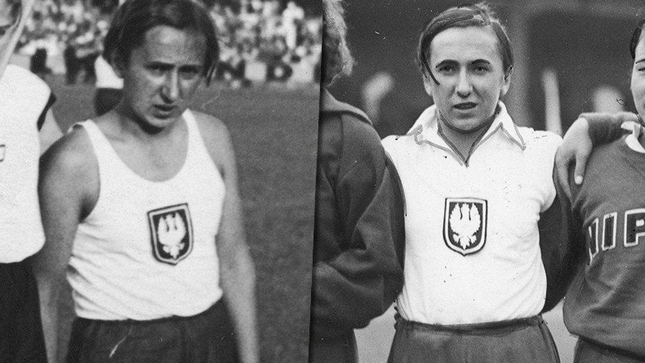 Zofia Smętkówna podczas zawodów lekkoatletycznych w 1935 i 1934 r.