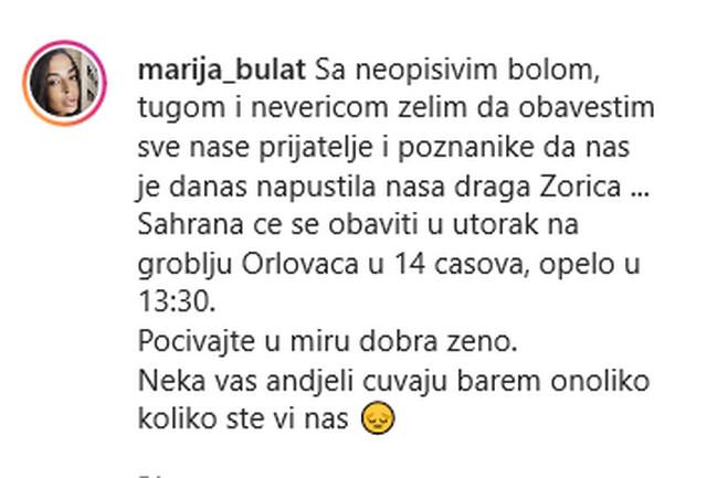Marija Bulat, objava