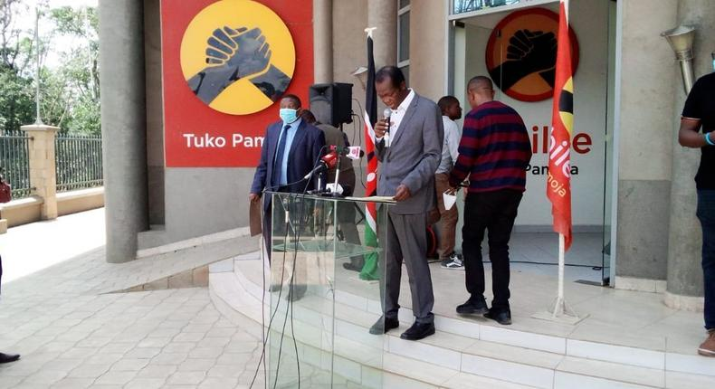 Jubilee party Secretary General Raphael Tuju during a press briefing from the party's headquarters