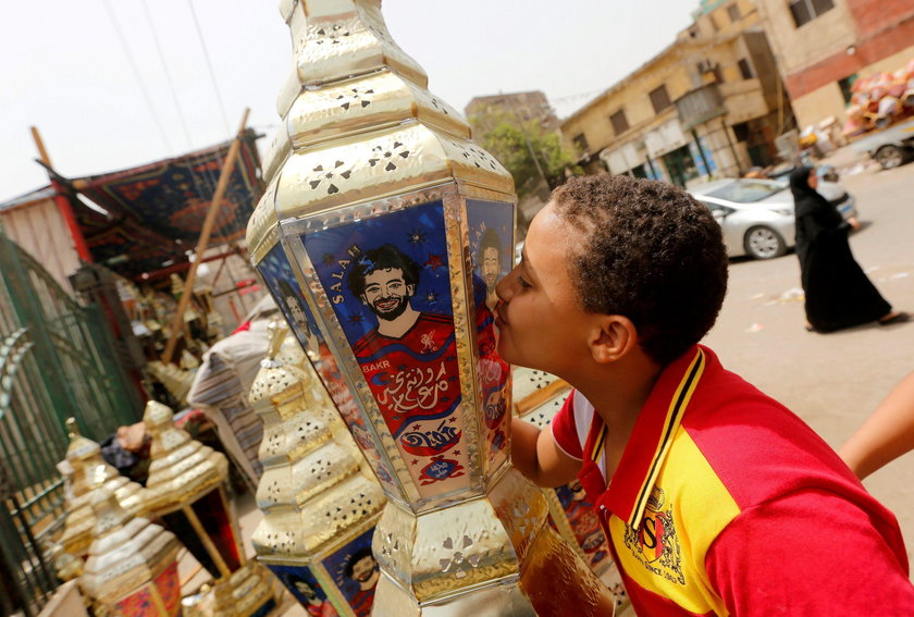 """Traditional decorative lanterns known as """"Fanous"""" bearing the image of Liverpool's Egyptian forward"""