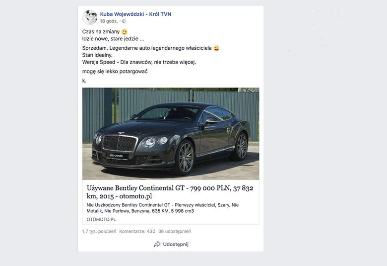 Bentley Wojewódzkiego na sprzedaż