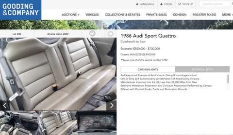 Audi Sport quattro za 0,5 mln euro
