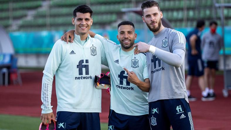 Od lewej: Alvaro Morata, Jordi Alba, David de Gea