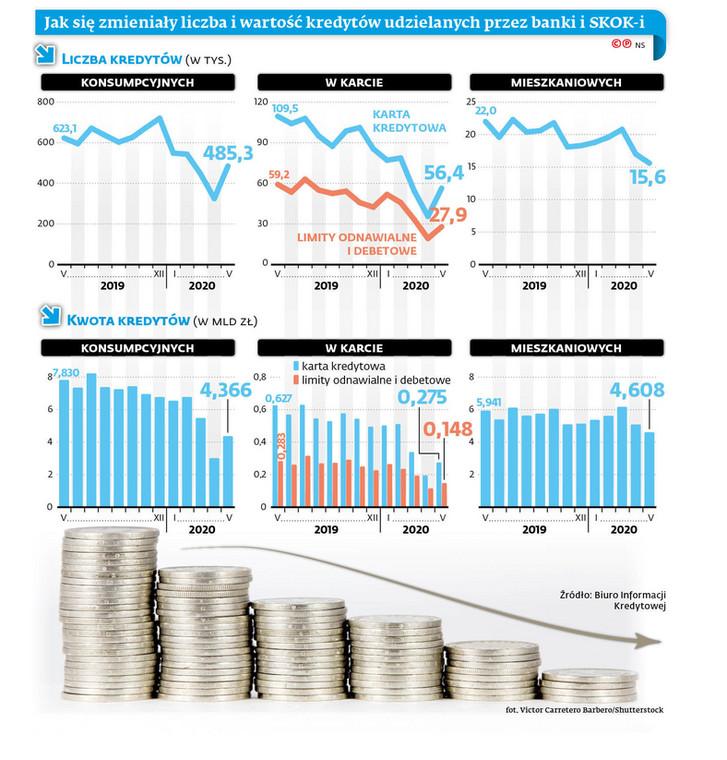 Jak się zmieniły liczba i wartość kredytów udzielonych przez banki i SKOK-i