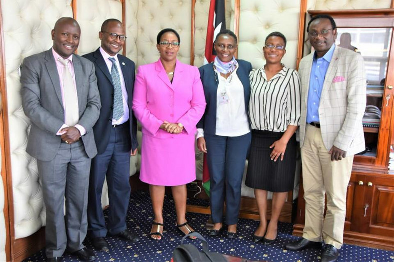 Dr Eva Njenga (3rd from right) with Health Cabinet Secretary (3rd from left) Sicily Kariuki