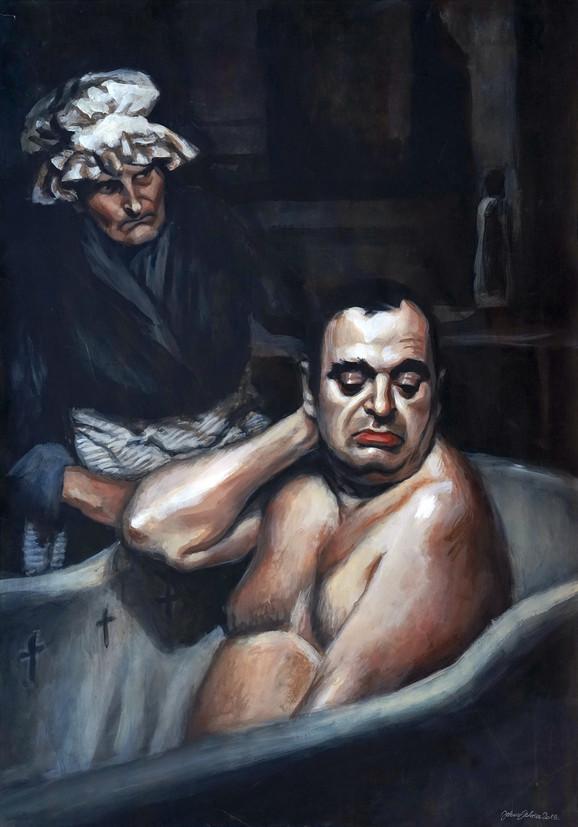 Perice, sine, ti si bolestan (70x100 akril na papiru 2018)