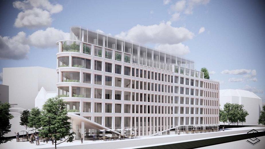 Projekt planowanego hotelu Barcelo w centrum Poznania