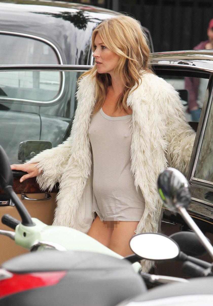Kate Moss w prześwitującym topie