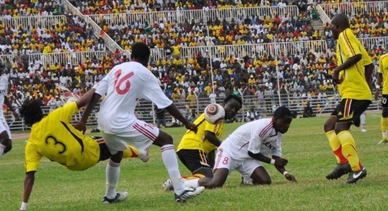 Kenyan players vs Uganda cranes players in action