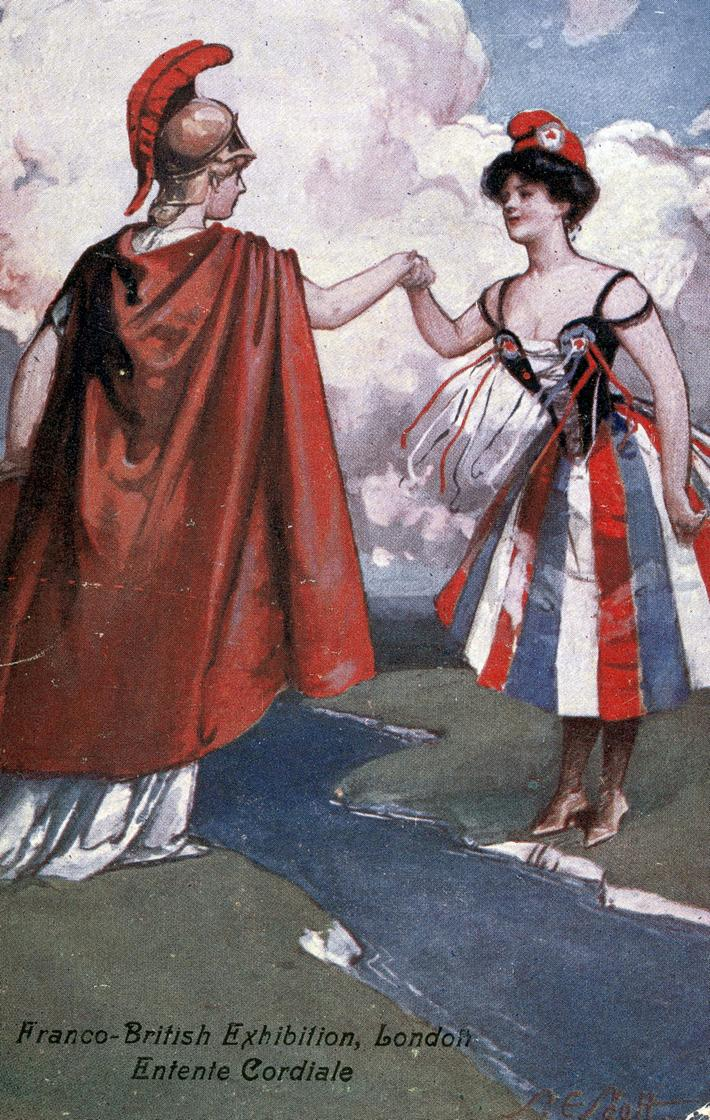 The Entente cordiale. Marianne and Britannia. Engl