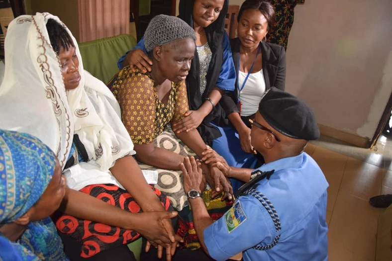 The Lagos State Commissioner of Police, Zubairu Muazu, condoles with the family of Kolade Johnson who was fatally shot by an officer [Nigeria Police Force]