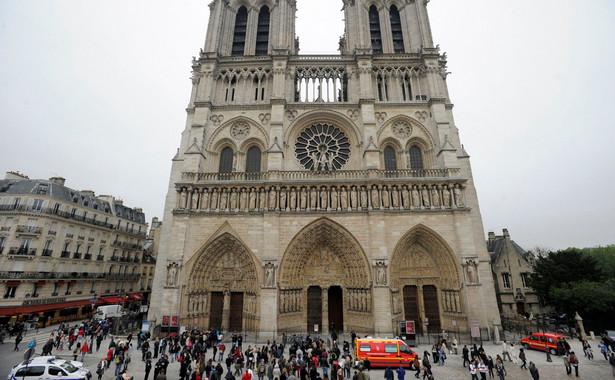 Policja przed katedrą Notre Dame.