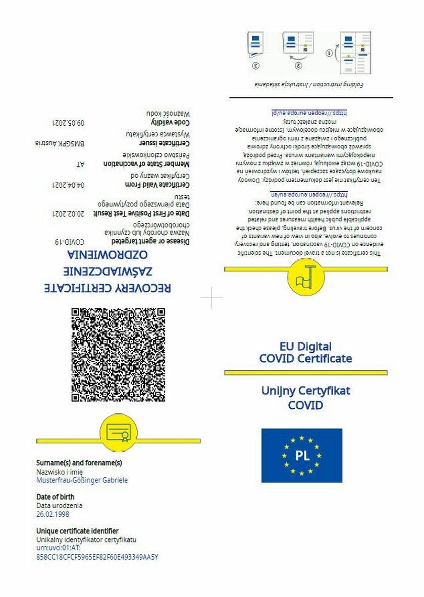 Unijny Certyfikat COVID.