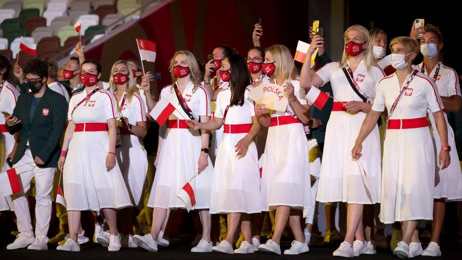 Reprezentanci Polski podczas ceremonii otwarcia Igrzysk w Tokio