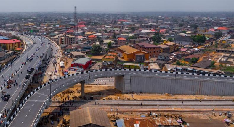 The 1.4km Dual Carriageway Flyover Bridge in Pen Cinema Junction, Agege began construction under the immediate former Governor of Lagos, Akinwunmi Ambode. [Twitter/@MrJAGs]