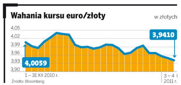 Wahania kursu euro/złoty