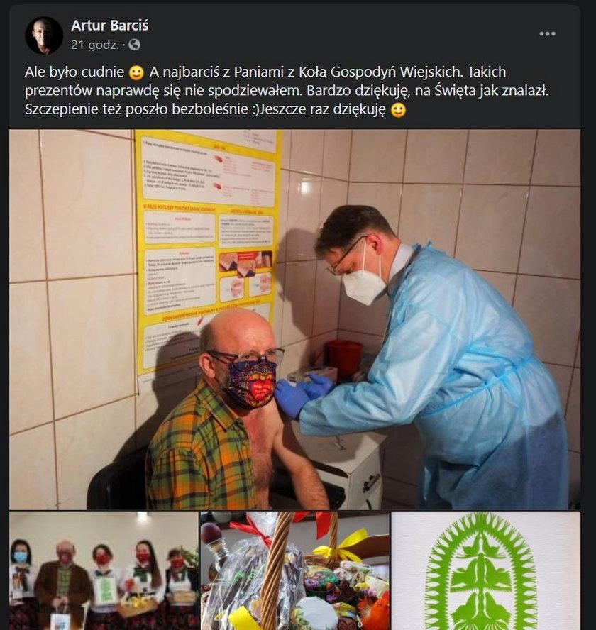 Artur Barciś w czwartek zaszczepił się przeciwko koronawirusowi