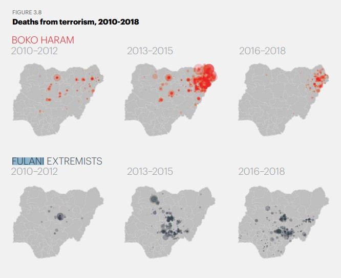Heat map of attacks carried out by Boko Haram and Fulani extremists between 2010 and 2018