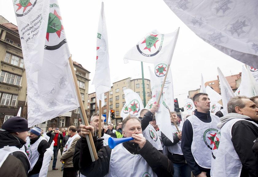 Protest górników w Katowicach