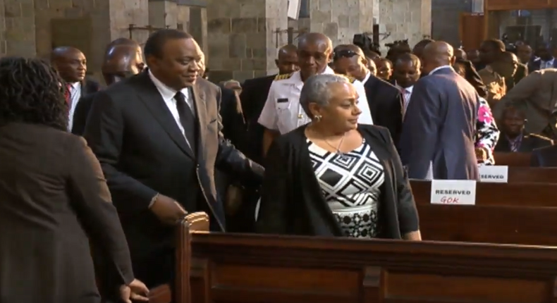 President Uhuru Kenyatta with First Lady Margaret Kenyatta during the memorial service for Safaricom CEO Bob Collymore. Uhuru recounts 2 am phone call from Collymore before his death