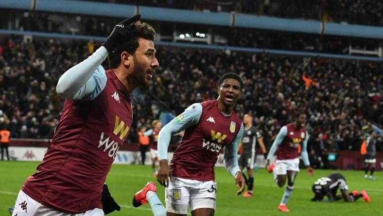 Going to Wembley: Trezeguet (left) celebrates the goal that sent Aston Villa into the League Cup final