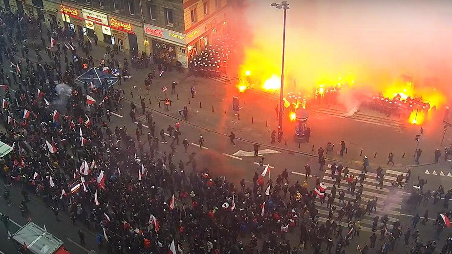 Co się działo podczas Marszu Niepodległości? Opublikowano monitoring
