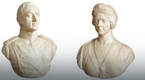Đoka Jovanović, Kralj Aleksandar i kraljica Marija Karađorđević, 1932, Mermer, 72x56x41 cm, po 8.000 €