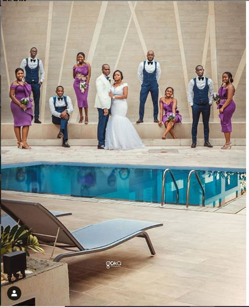 Couple with the bridal and groom's party