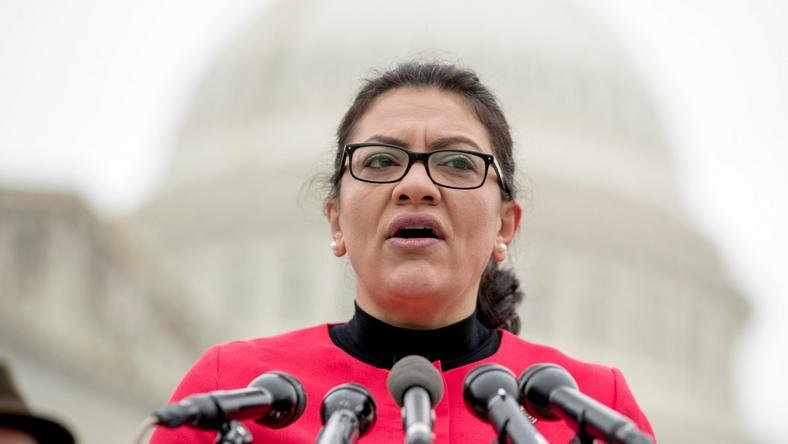 Rep. Rashida Tlaib, D-Mich., speaks at a news conference on Capitol Hill in Washington, Thursday, Jan. 17, 2019, to unveil the