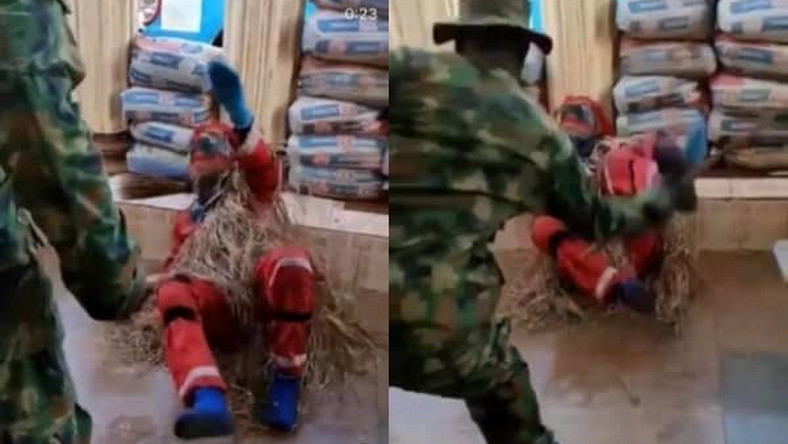 Fearless soldier's beatings forces masquerade to speak and plead for mercy (video)