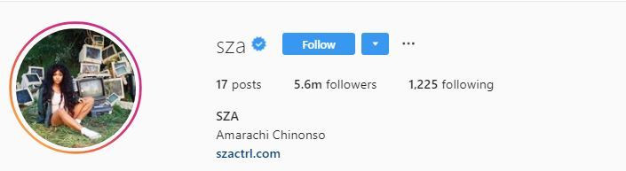 Her Instagram account, @SZA carrying the Nigerian name. (Instagram/SZA)