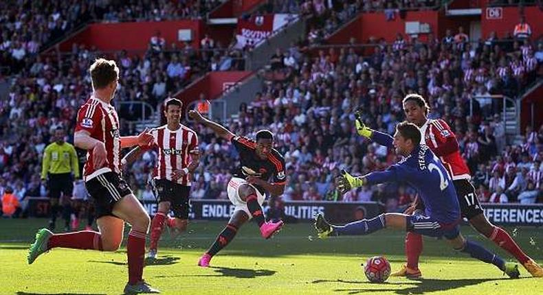 Anthony Martial scores the equalising goal for Manchester United at Southampton