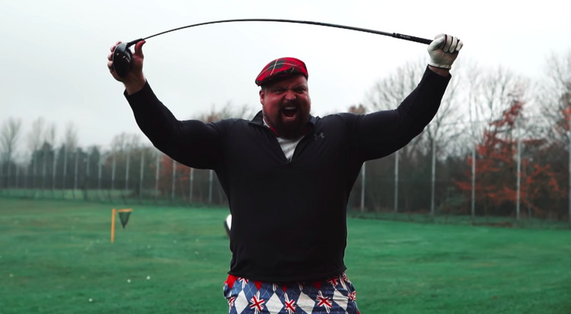Watch Strongman Eddie Hall Try to Break a Golf Swing World Record