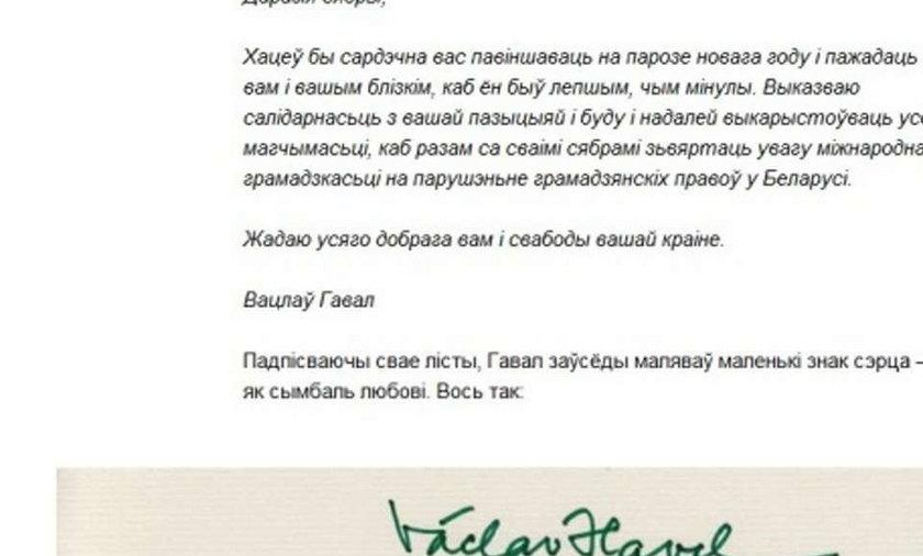 Oto ostatni list Vaclava Havla. Z serduszkiem