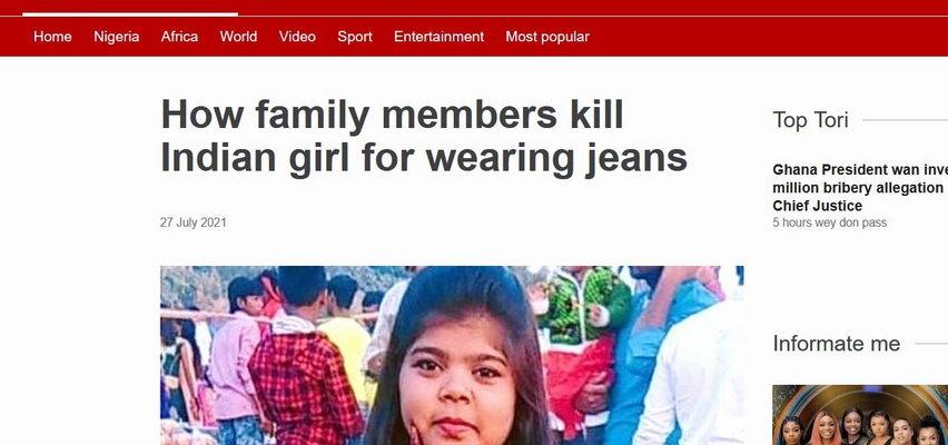 Nastolatka skatowana na śmierć przez rodzinę za noszenie dżinsów