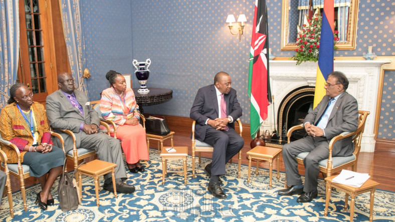President Kenyatta was accompanied by Cabinet Secretaries Monica Juma (Foreign Affairs) and Prof. George Magoha ( Education) among other senior government officials on his state visit to Mauritius.