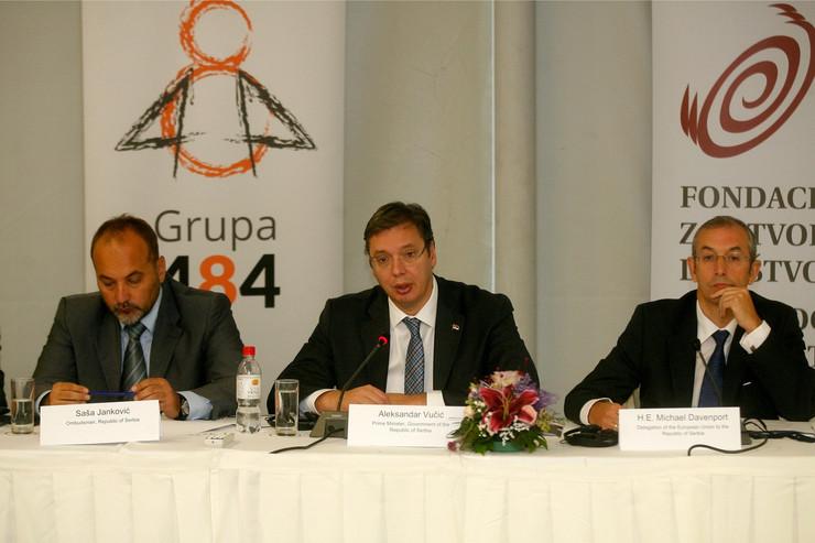 Saša Janković, Aleksandar Vučić i Majkl Devenport na današnjoj regionalnoj konferenciji