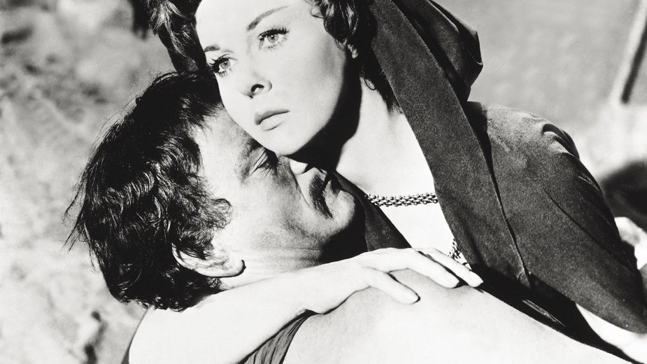 "Susan Hayward i John Wayne w filmie ""Zdobywca"""