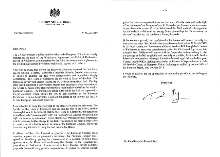 The letter from Prime Minister May sent to European Council President Donald Tusk asked EU leaders to postpone Brexit until June 30