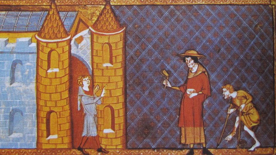 Dwóch trędowatym odmówiono wjazdu do miasta. Jeden ma kule, drugi ma na sobie sukienkę Łazarza i grzechotkę ostrzegającą o chorobie