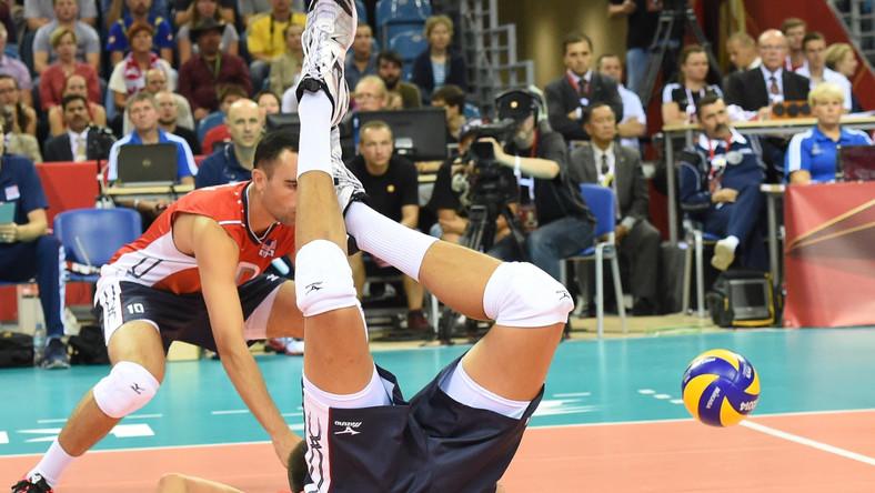 Micah Christenson z zespołu USA podczas meczu z Belgią w grupie D mistrzostw świata w siatkówce mężczyzn rozgrywanego w Arenie Kraków w Krakowie