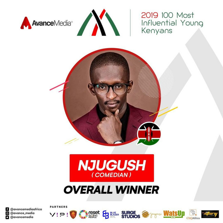 Njugush was voted as the most influential Young Kenyan for the year 2019