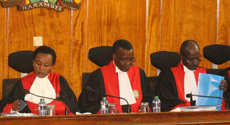 Supreme Court President CJ David Maraga with DCJ Philomena Mwilu and Justice Mohamed Ibrahim during a past hearing