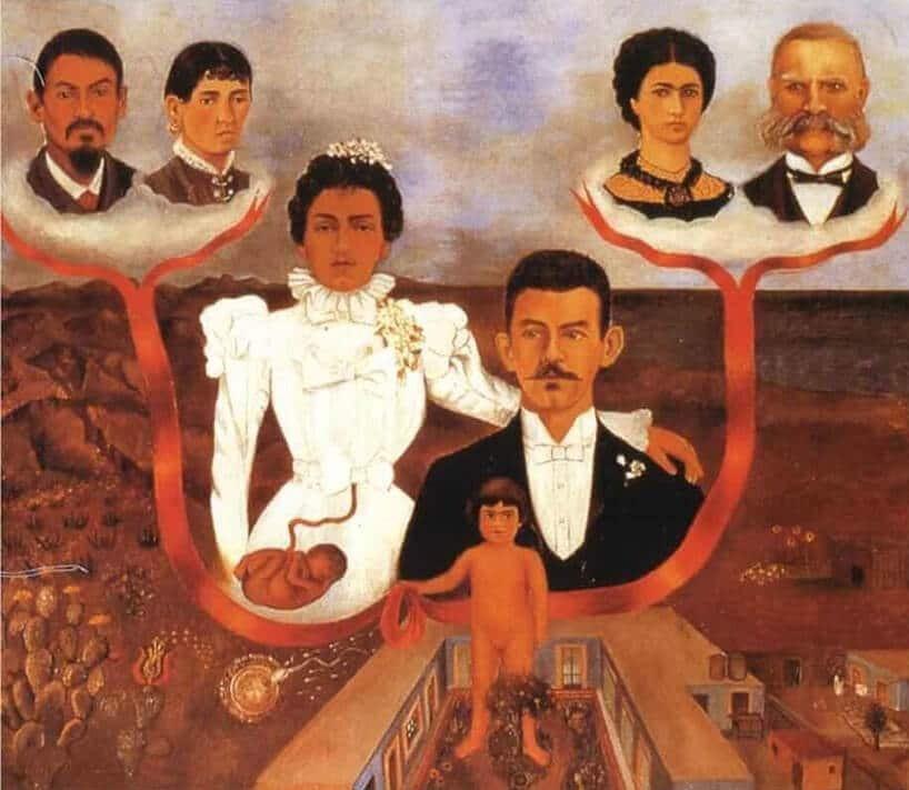 """Frida Kahlo, obraz """"Moi dziadkowie, moi rodzice i ja"""""""