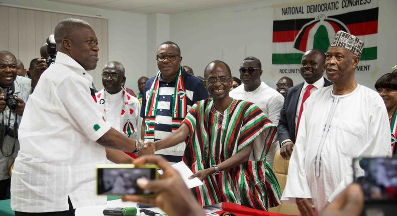 Vice President, Amissah-Arthur taking presidential nomination forms on behalf of President Mahama